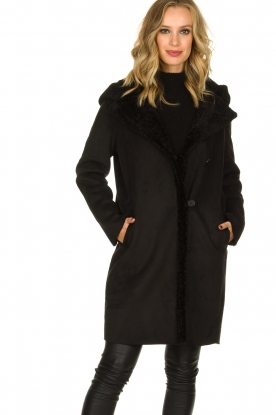 OAKWOOD |  Coat with lammy lining Leonie | black