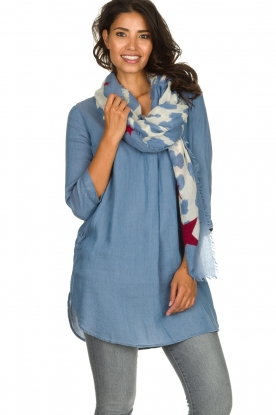 Moment by Moment |  Leopard print scarf Caron | blue