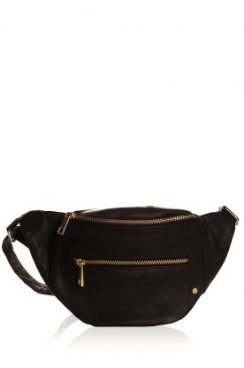 Depeche |  Leather fanny pack Lie | black