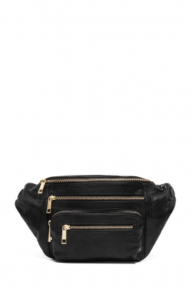 Depeche |  Leather fanny pack Nicol | black