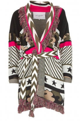 Est-Seven    Cardigan with prints Army   multi