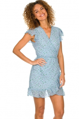 Freebird |  Floral wrap dress Rosy | blue