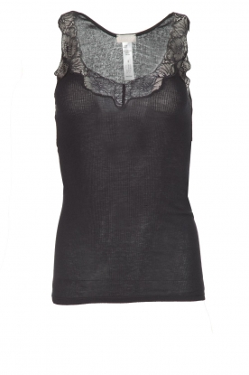 Hanro |  Sleeveless top Lace Delight | zwart