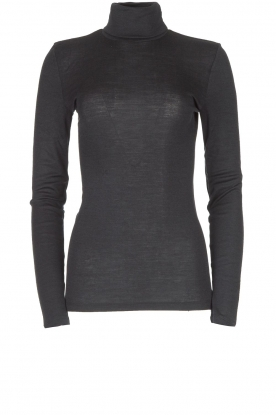 Hanro |  Merino woolen turtleneck top Monice | black