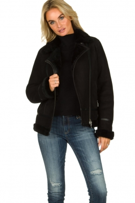 STUDIO AR BY ARMA |  Leather lammy coat Kelly | black
