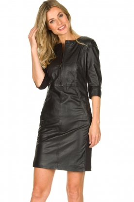 STUDIO AR BY ARMA | Leather dress Anniko | black
