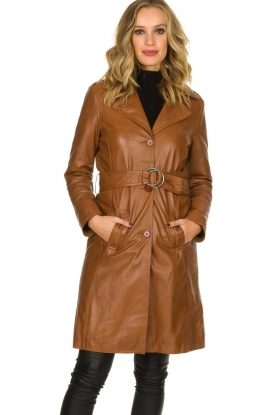 STUDIO AR BY ARMA | Leren trenchcoat Era | camel