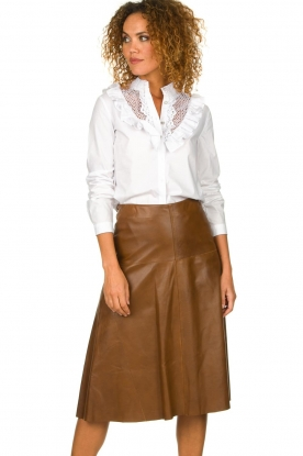 STUDIO AR BY ARMA | Leather skirt Fairchild | brown