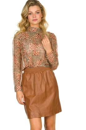 STUDIO AR BY ARMA | Leather skirt Myrte | camel