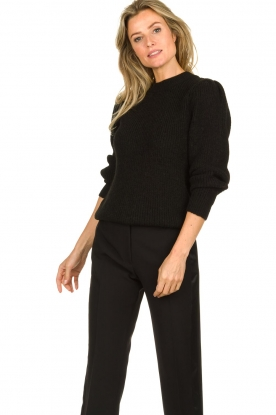 IRO |  Knitted sweater with sleeve details Hobson | black