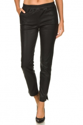 Arma |  Leather stretch leggings Chatou | black