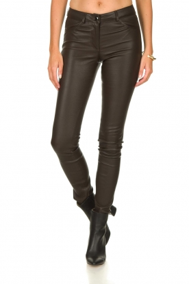 Arma |  Leather stretch pants Brandice | brown