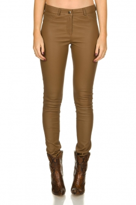 Arma |  Leather stretch pants | brown