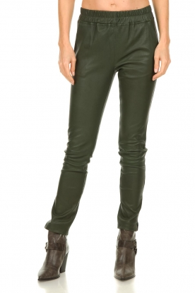 Est-Seven |  Leather legging  Amber | green