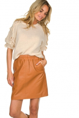 Est-Seven | Leather skirt Mylenna | camel