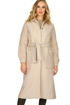 ba&sh |  Long coat with knitted sleeves Calas | beige