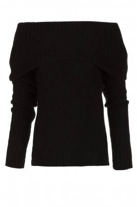 Knit-ted |  Knitted sweater with wide turtleneck Blanche | black