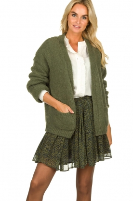 Knit-ted |  Knitted cardigan Bernelle | green
