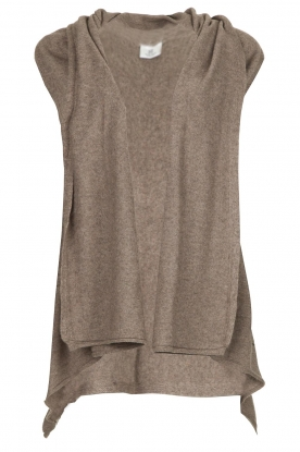 Knit-ted | Sleeveless cardigan Lotte | brown