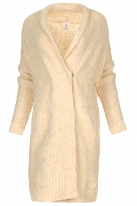 Knit-ted |  Knitted cardigan with buttons Babette | natural