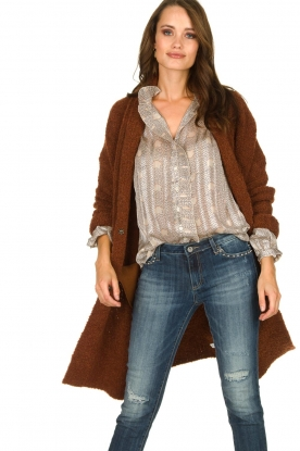 Knit-ted |  Knitted cardigan with buttons Babette | brown