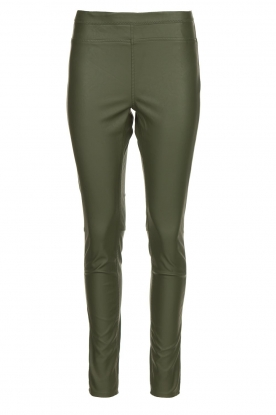 Knit-ted | Faux leather leggings Amber | green
