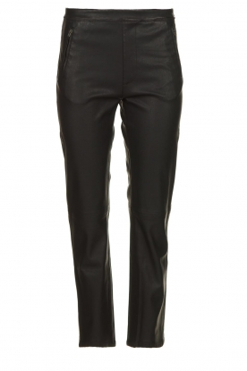 Knit-ted |   Pants with leather look Alix | black