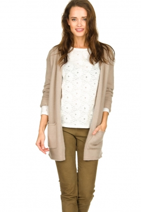 American Vintage    Cardigan with open pockets Gogojet   beige