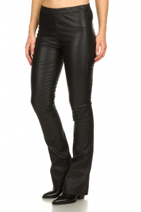 Est-Seven |  Flared leather stretch pants Meredith | black