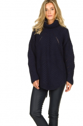 Rabens Saloner |  Ajour sweater Beate | blue