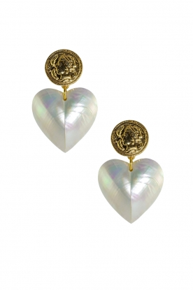 Miccy's |  Pearl earrings Mop Hearts | natural
