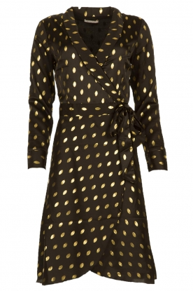 Freebird |  Midi dress with gold-colored dots Isaya | black