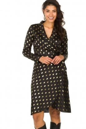 Freebird |  Midi dress with gold-colored dots Isaya | black