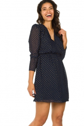Freebird |  Dress with gold-colored dots Evia | blue