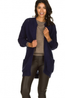 Dante 6 |  Knitted ajour cardigan Encore | blue