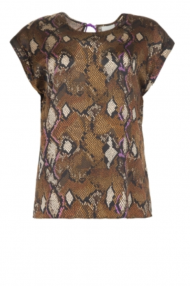 Dante 6 |  Top with snake print Trace | brown