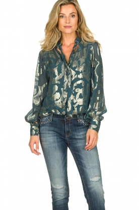Dante 6 |  SIlk blouse with lurex pattern Celebration | green