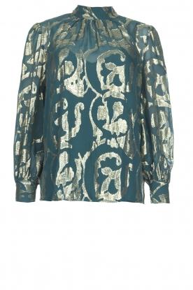 Dante 6 | Zijden blouse met lurexpatroon Celebration | groen