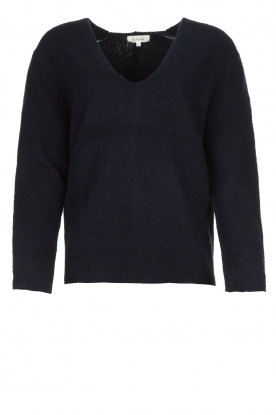 Les Favorites |  Knitted V-neck sweater Fenne | blue
