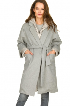 JC Sophie |  Two-part coat Burgundy | grey