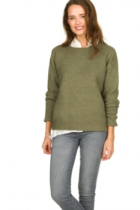 JC Sophie |  Sweater with turned over sleeves Brianna | green