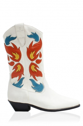 Catarina Martins |  Leather western boots Abba | white