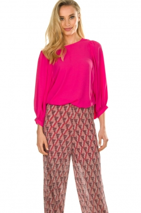 Kocca |  Blouse with puffed sleeves Talami | pink