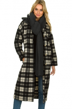 American Vintage |  Long checkered coat Billy | Black white