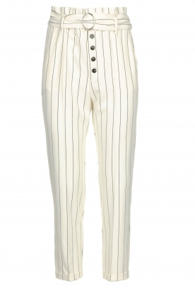 Kocca |  Striped paperbag pants Eulalia | white