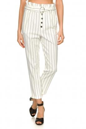 Kocca |  Striped paperbag pants Eulalia | white