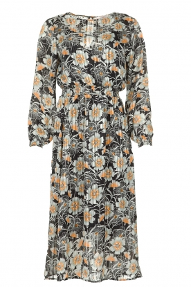 Aaiko |  Midi dress with flower print Pamila | black