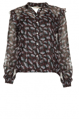 Aaiko |  Blouse with floral print Dio | black