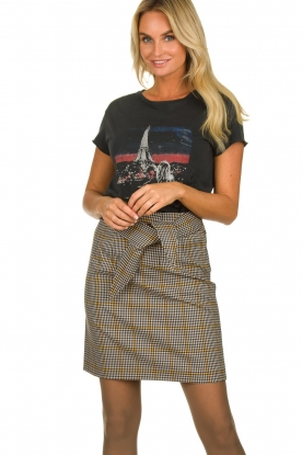 Aaiko |  Checkered skirt Patia | black & white