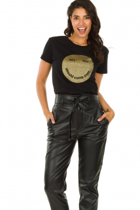 Set |  T-shirt with sequins Smiley | black